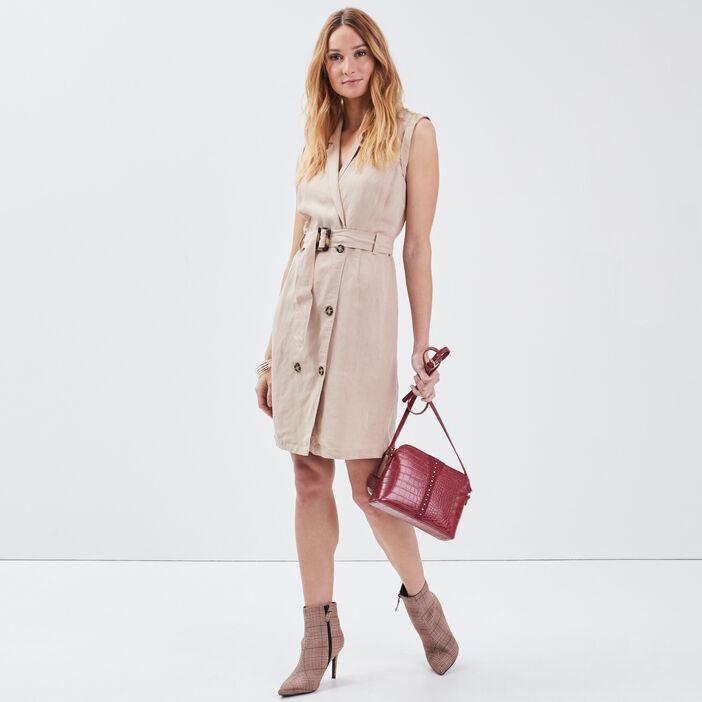 Robe portefeuille ceinturée beige femme