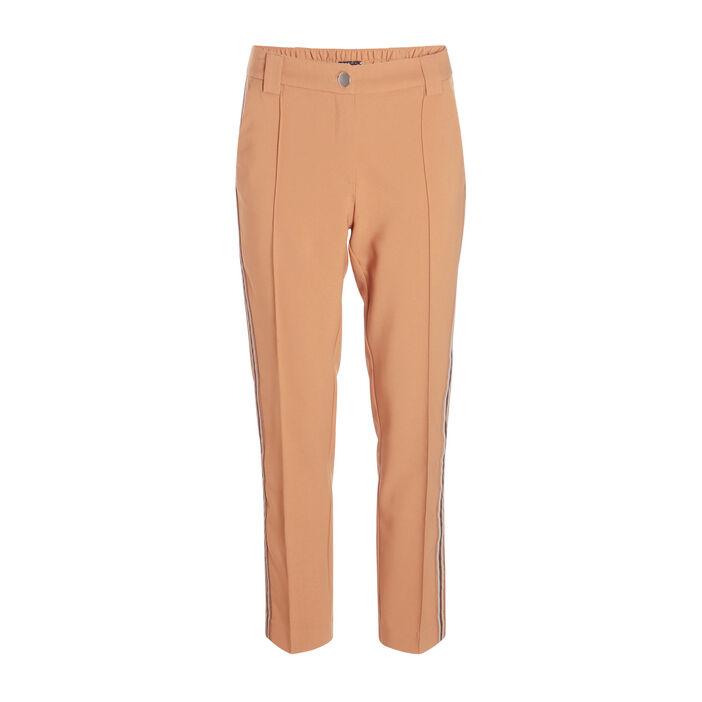 Pantalon carotte taille standard camel femme