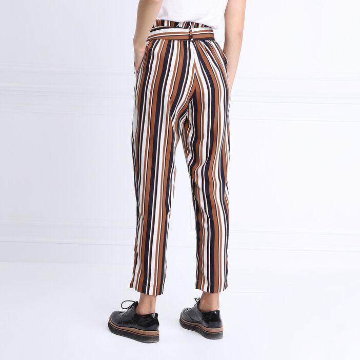 Pantalon fluide taille haute camel femme
