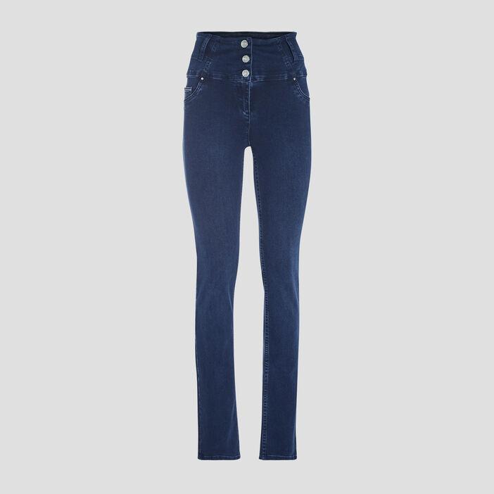 Pantalon ajusté taille haute denim brut femme