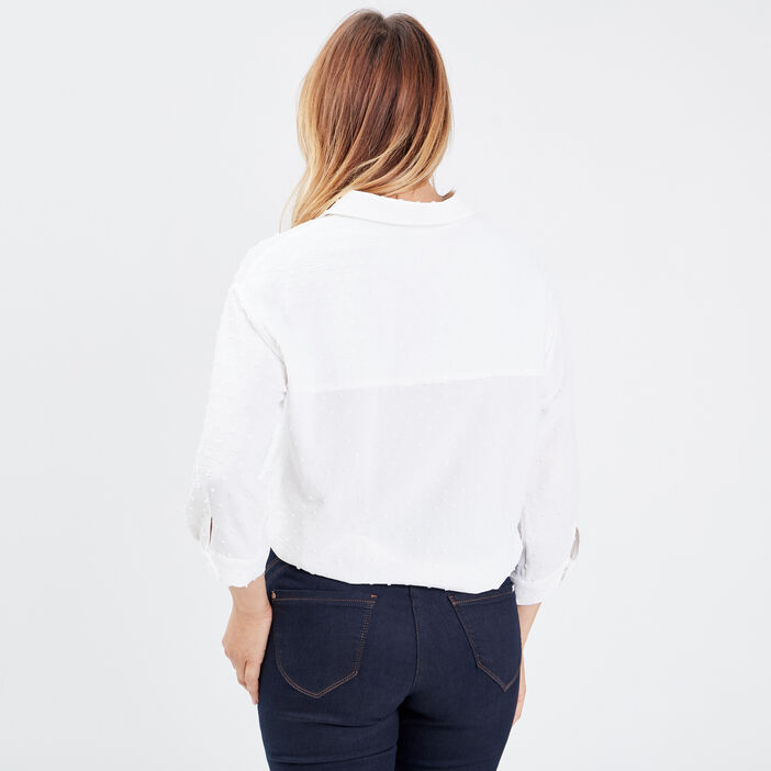 Chemise manches 3/4 ecru femme