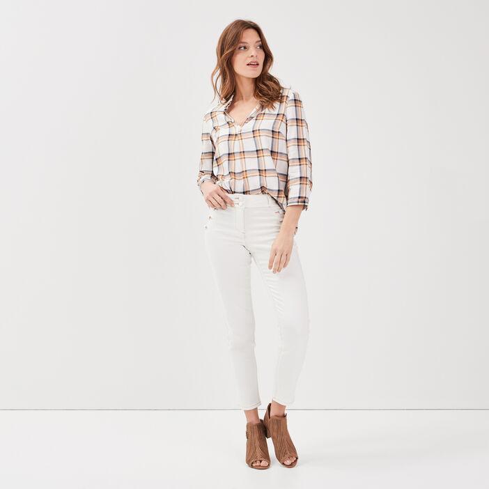 Pantalon ajusté 7/8ème ecru femme