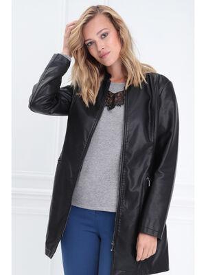 Manteau droit 2 poches zippees noir femme