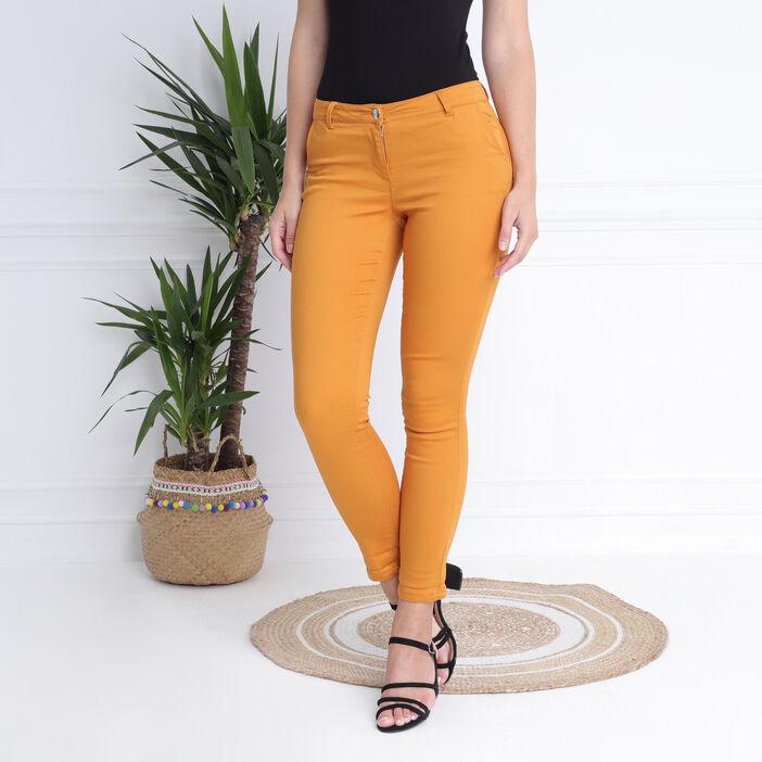 Pantalon taille standard jaune moutarde femme