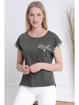 T shirt manches courtes poche vert kaki femme
