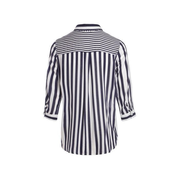 Chemise coupe droite rayures bleu foncé femme