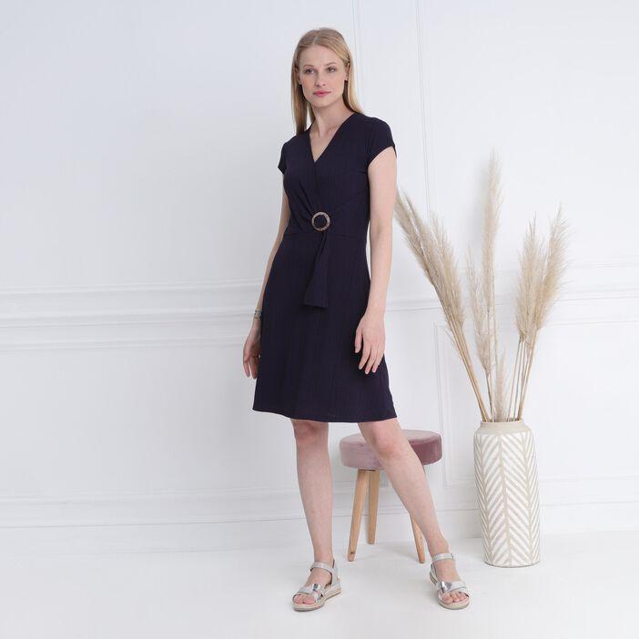 Robe courte droite à boucle bleu foncé femme