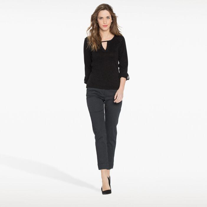 Pantalon imprimé à pois noir femme
