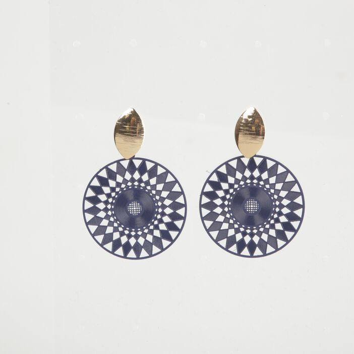 Boucles d'oreilles pendentif rosace bleu femme