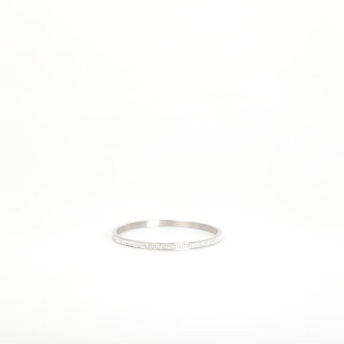 Bracelet jonc dessus en strass couleur argent femme