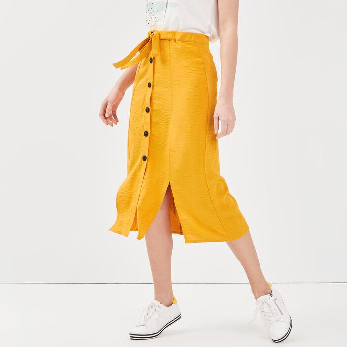 Jupe longue évasée fendue jaune or femme