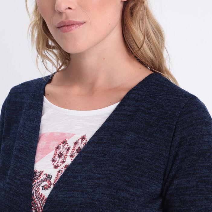 T-shirt manches 3/4 2-en-1 bleu foncé femme