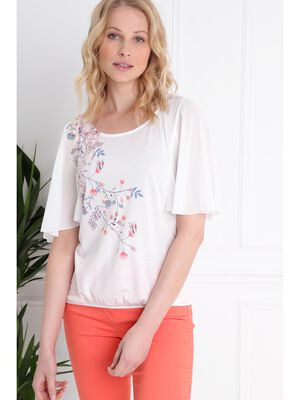 T shirt manches 34 forme boule ecru femme