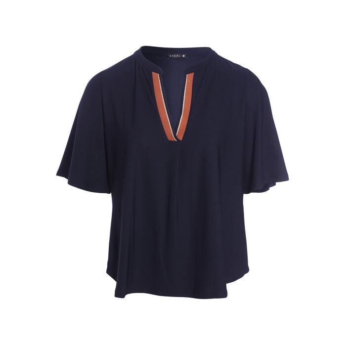 T-shirt manches courtes amples bleu marine femme