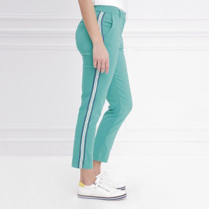 Pantalon ajusté taille basculée vert femme