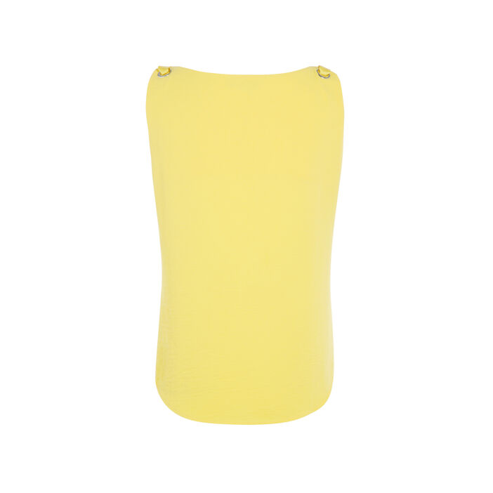 Chemisier sans manche oeillets métal jaune femme