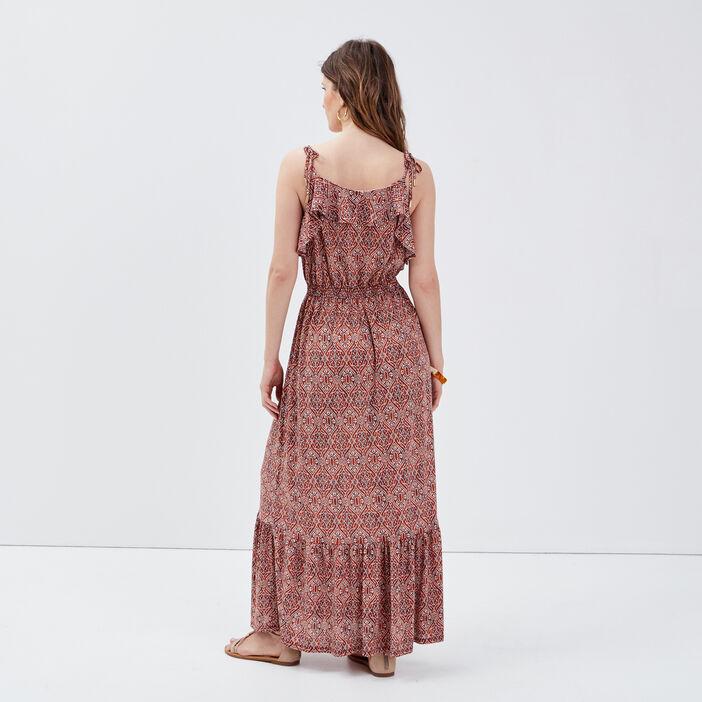 Robe longue évasée à bretelles terracotta femme