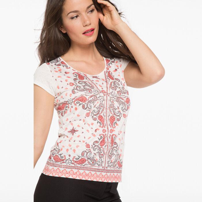 T-shirt imprimé bandana rouge fluo femme