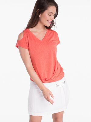 T shirt ouvert sur epaules orange corail femme
