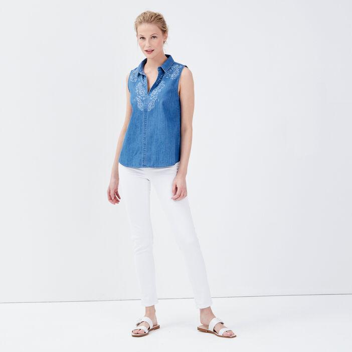 Blouse sans manches en jean denim stone femme