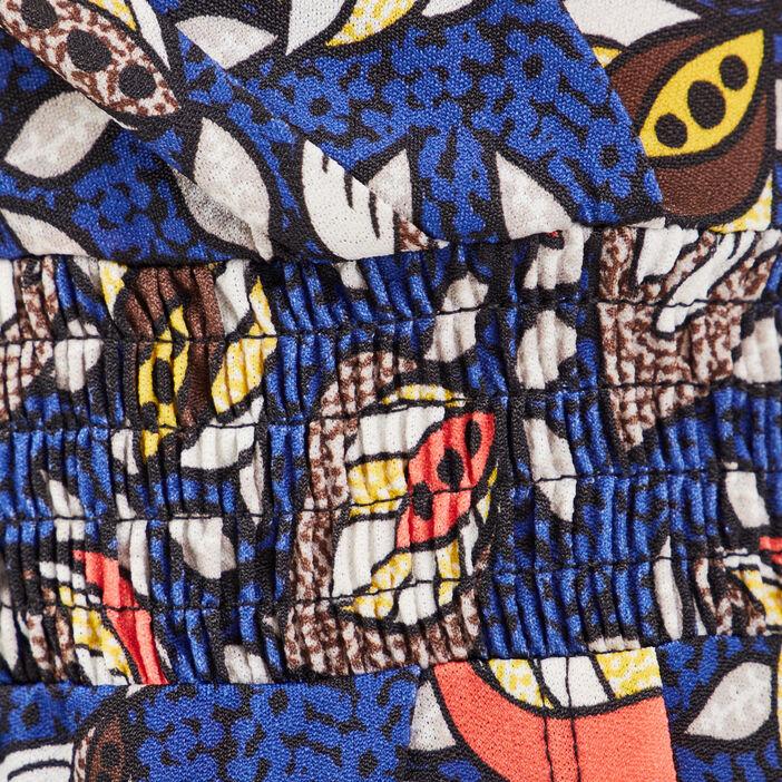 Robe ajustée taille smockée bleu roi femme