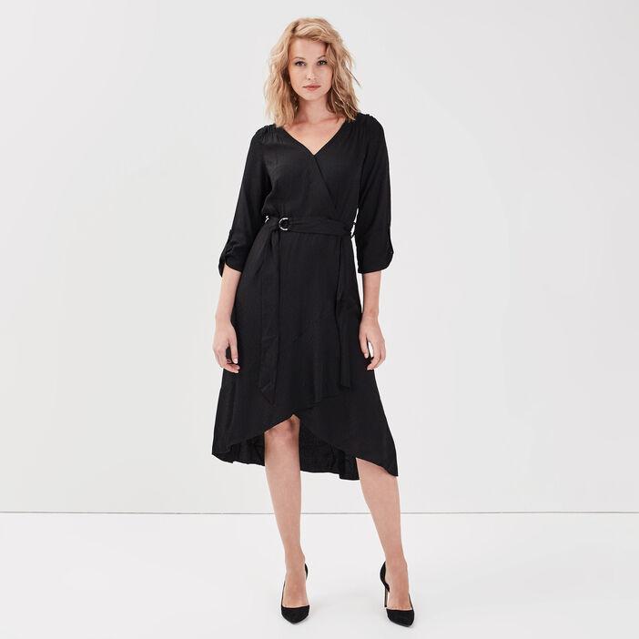 Robe longue évasée ceinturée noir femme