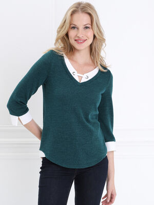 T shirt manches 34 2 en 1 vert fonce femme