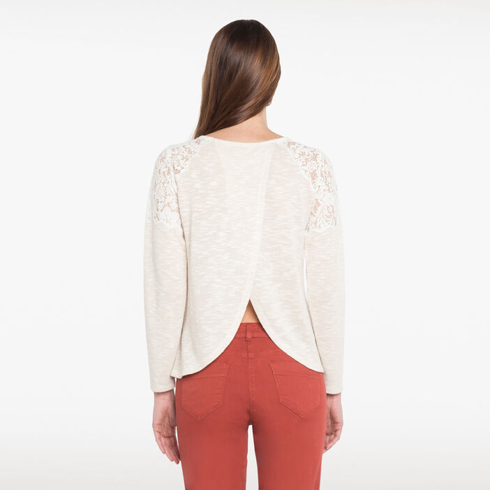 T-shirt avec dentelle aux épaules beige femme