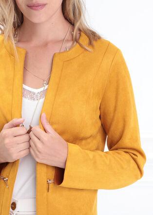 Veste cintree droite jaune or femme