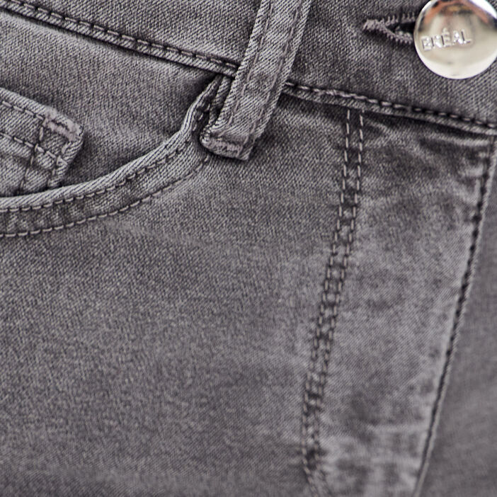 Pantalon léger toucher doux + pochette denim gris femme