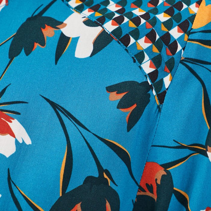 Blouse manches longues bleu turquoise femme
