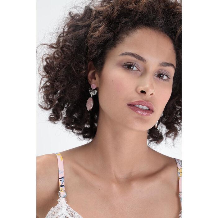 Boucles d'oreille pendantes rose clair femme