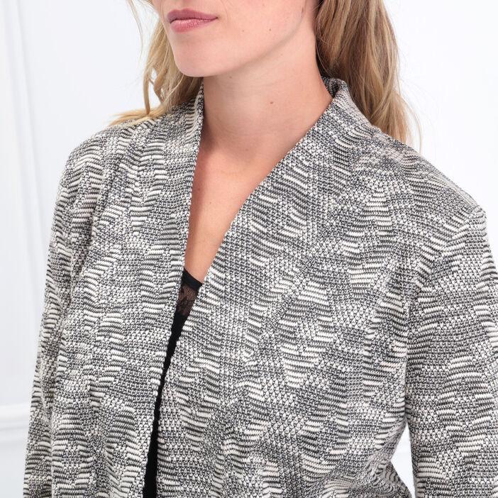 Veste cintrée col ouvert gris clair femme