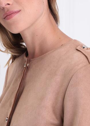 Manteau droit boutonne suedine marron clair femme