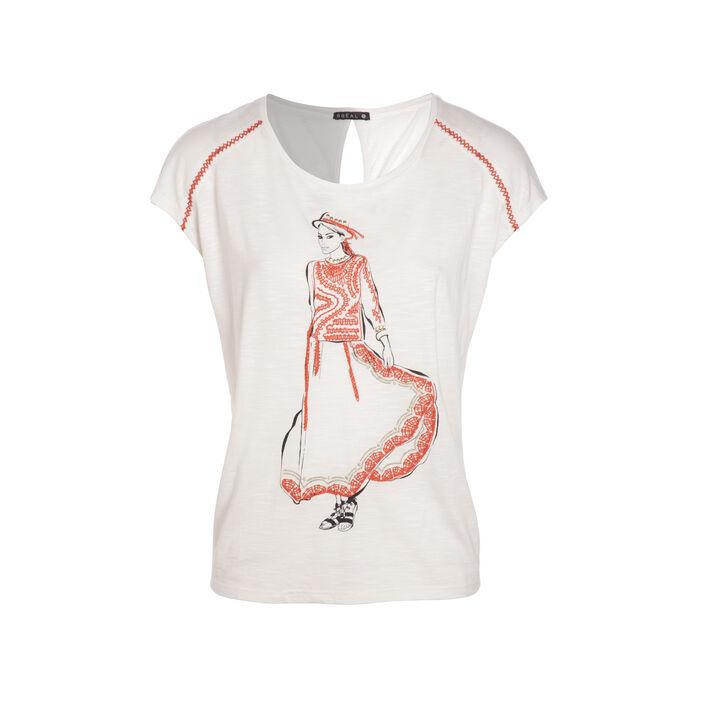 T-shirt uni dessin avant ivoire femme