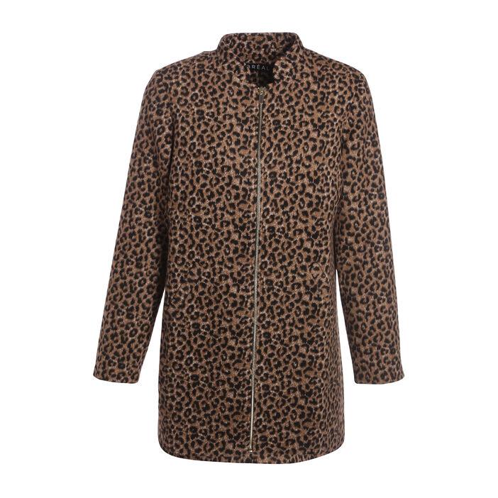 Manteau droit zippé noir femme