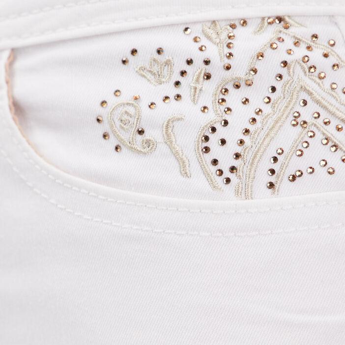 Pantalon ajusté détails strass ecru femme