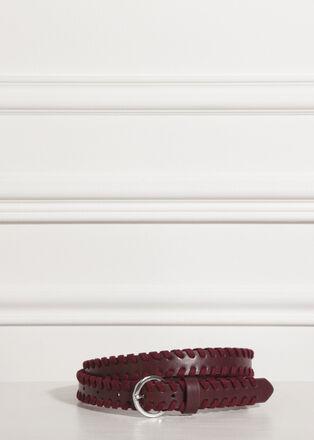 Ceinture tressee boucle ronde rouge fonce femme