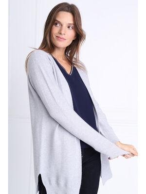 Cardigan manches longues gris clair femme