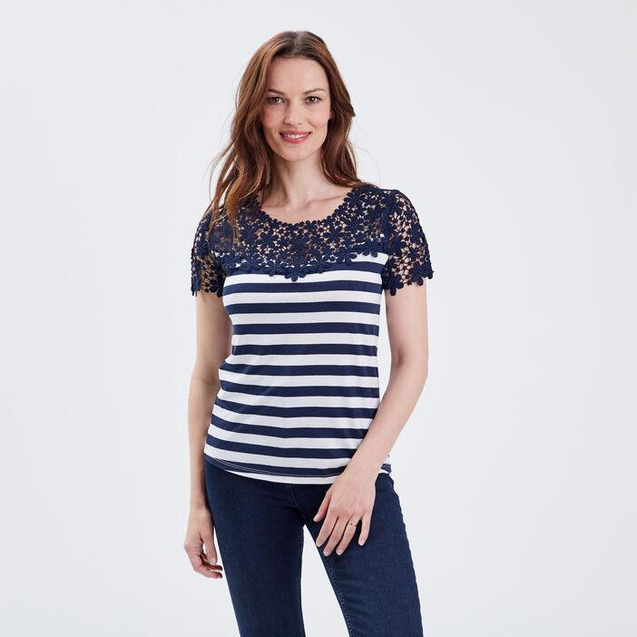 T-shirt manches courtes bleu marine femme