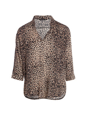 Chemise leopard manches 34 camel femme