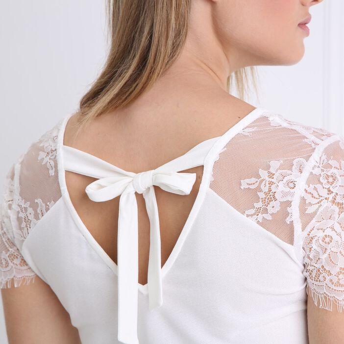 T-shirt manches courtes en dentelle ecru femme