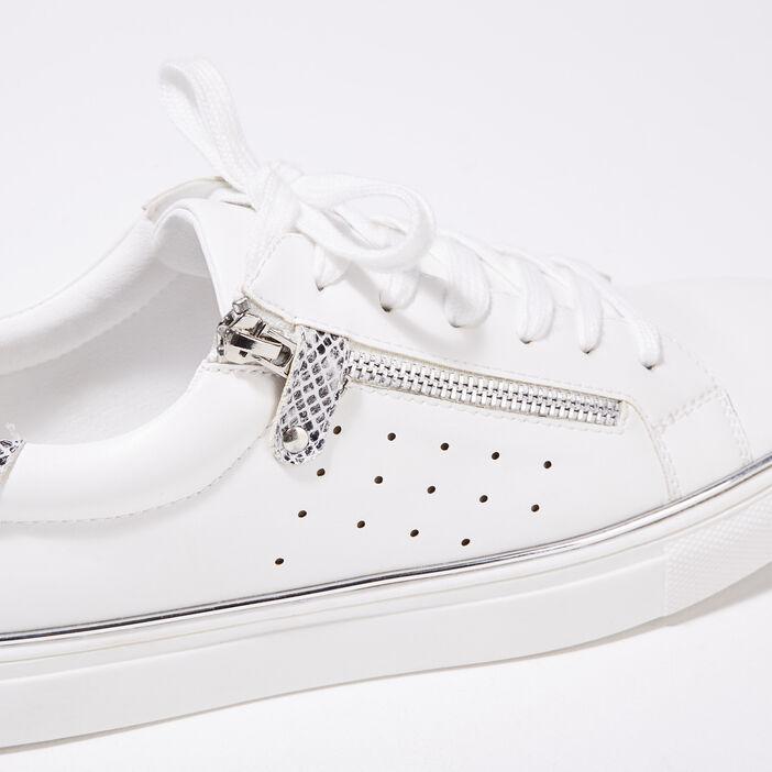 Baskets plates détails zippés blanc femme