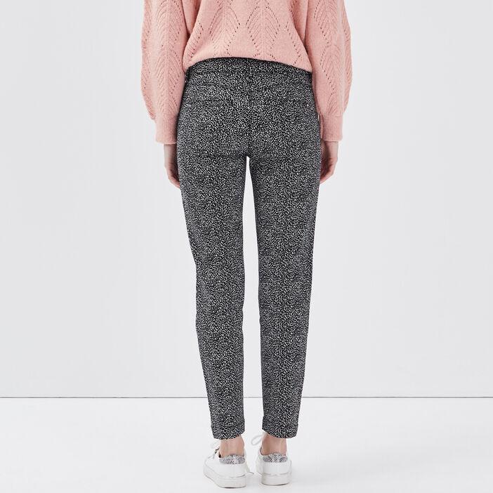 Pantalon ajusté détails zippés noir femme