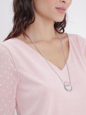Sautoir a pendentif marbre couleur argent femme