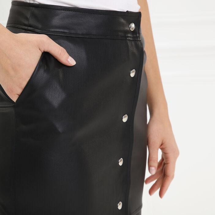 Jupe crayon aspect cuir lisse noir femme