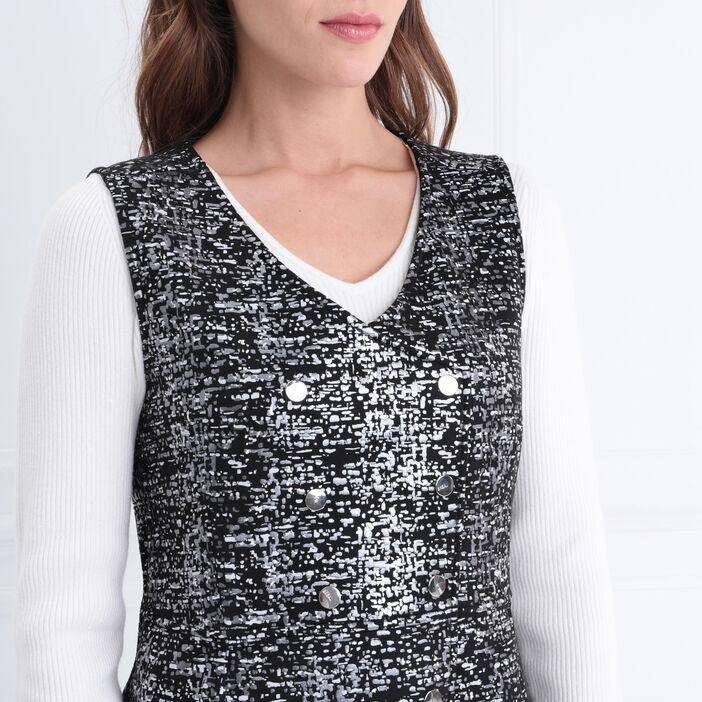 Robe ajustée boutonnée noir femme