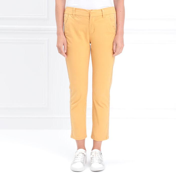 Pantalon chino taille basculée jaune or femme