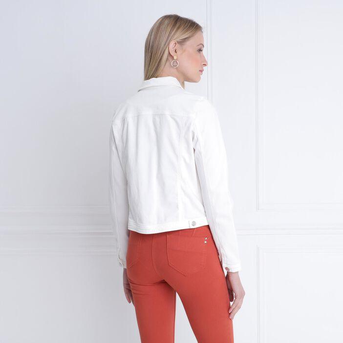 Veste droite courte brodée ecru femme
