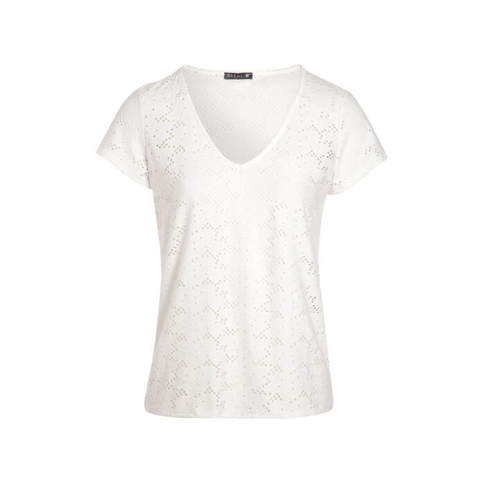 T-shirt manches courtes ajouré ecru femme